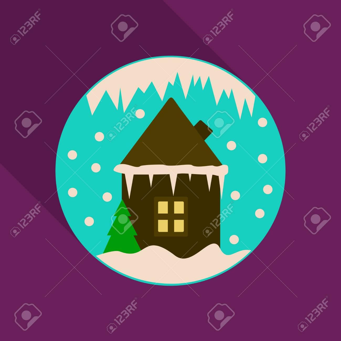 Banque dimages maison dhiver de dessin animé image vectorielle maisons de noël recouvertes de neige en cercle