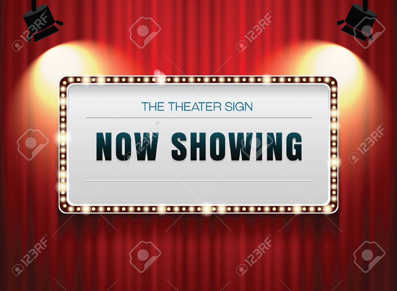 theater sign on curtain - 52582115