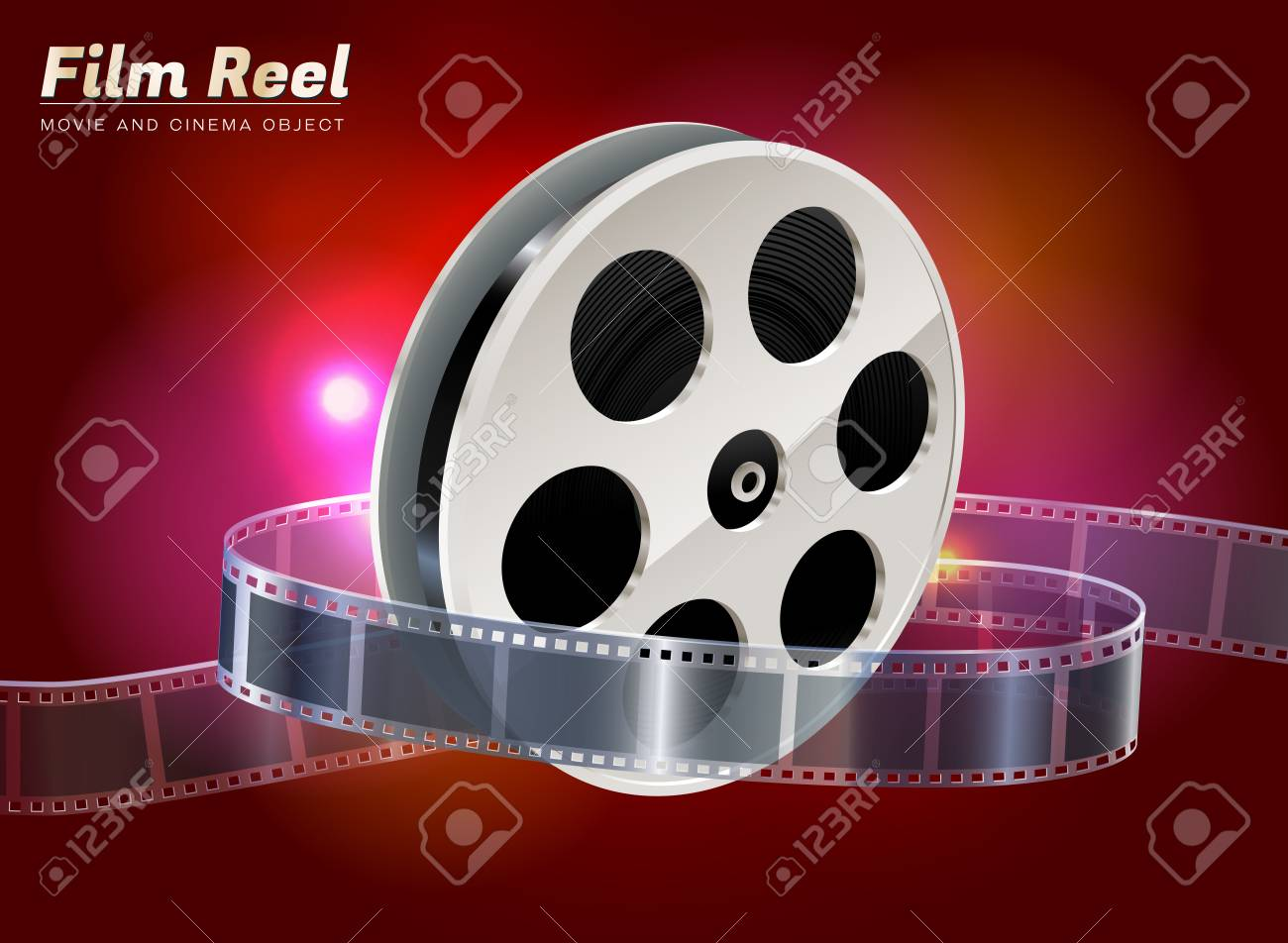 Film Reel Cinema Movie Theater Object On Bokeh Background Royalty