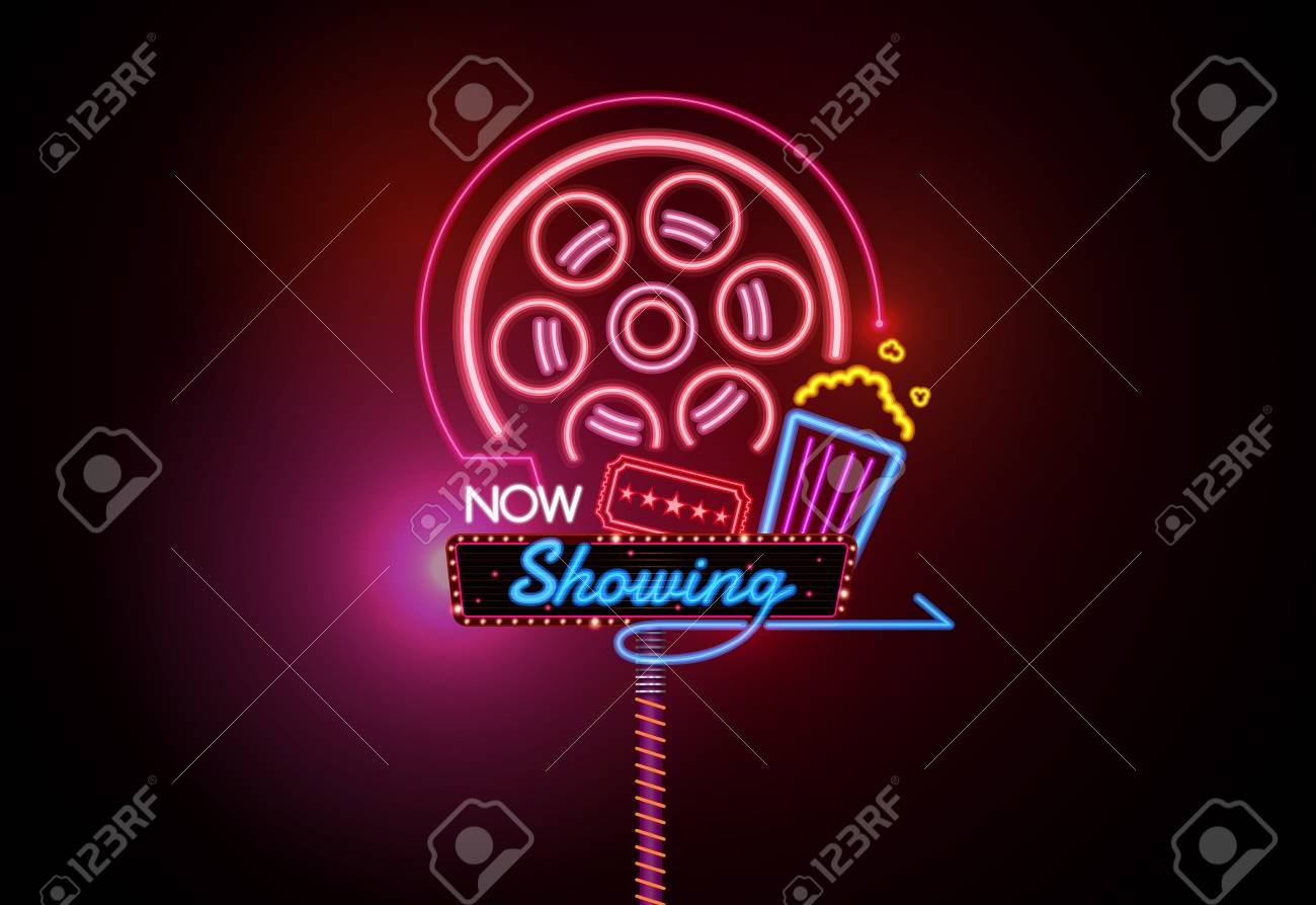 Now Open Glowing Neon And Bulb Sign Cinema Movie Theater Vector Royalty Free Cliparts Vectors And Stock Illustration Image 94833991