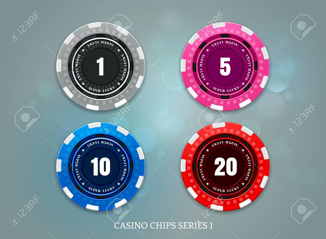 casino coins chip set on bokeh background vector illustration - 101595321