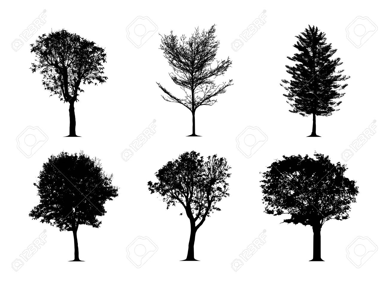 the silhouette tree on white background. Vector trees in silhouettes set - 126172767