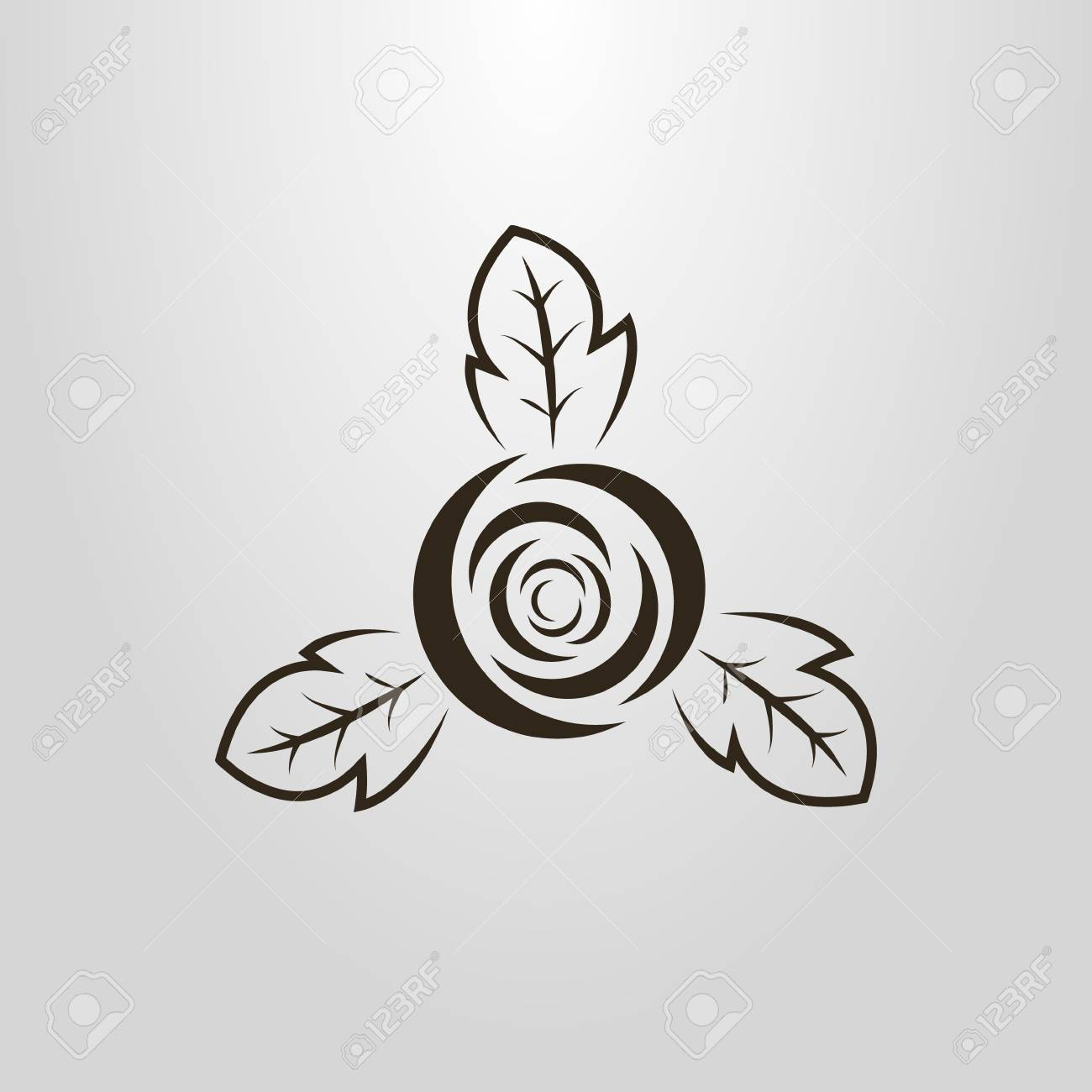 Black And White Simple Vector Pictogram Of An Abstract Rose Bud