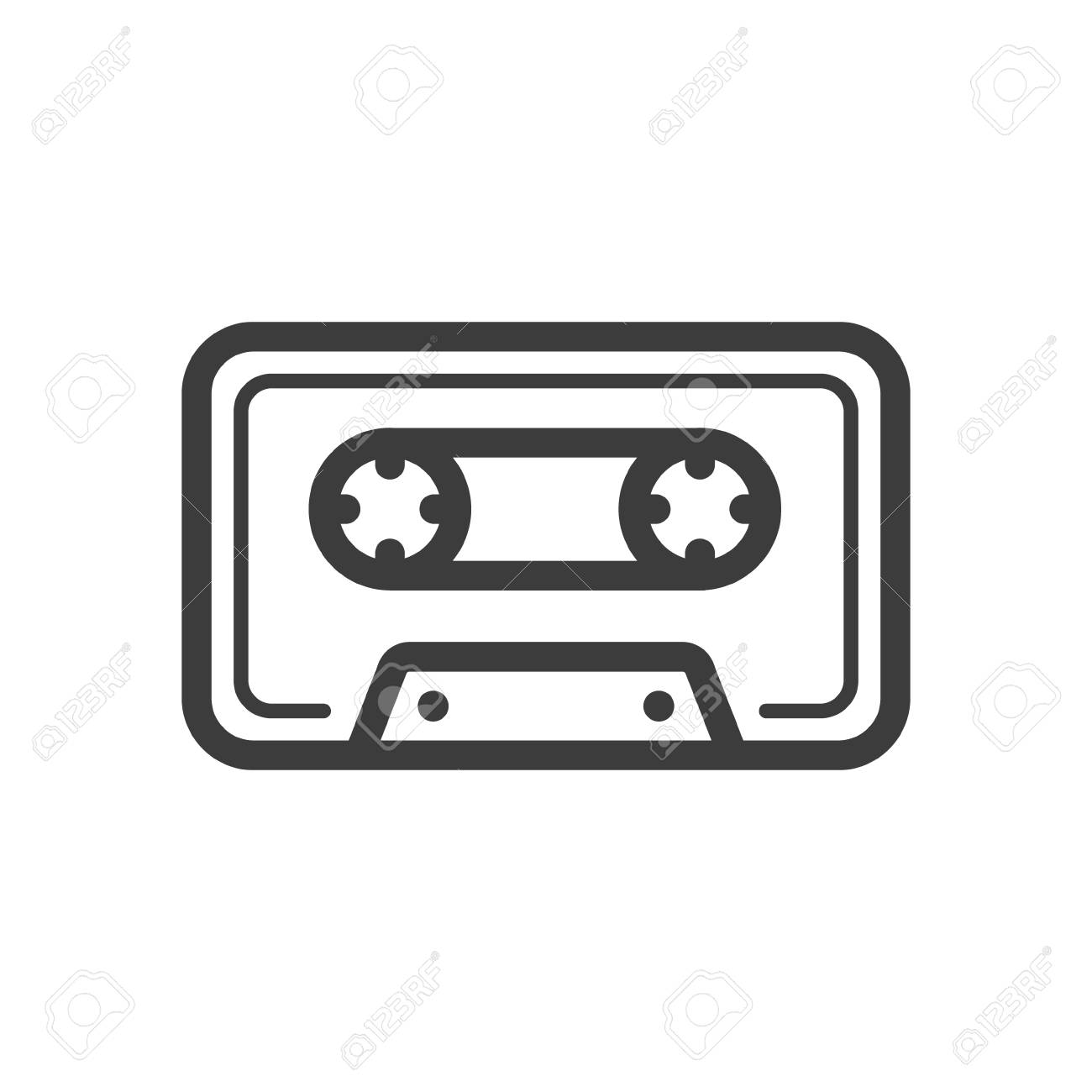 Black and white simple vector line art icon of old school music