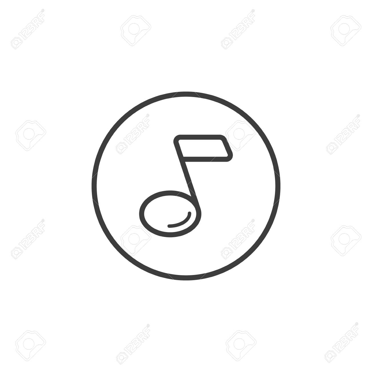 Black and white simple line art music note icon in a round frame stock vector