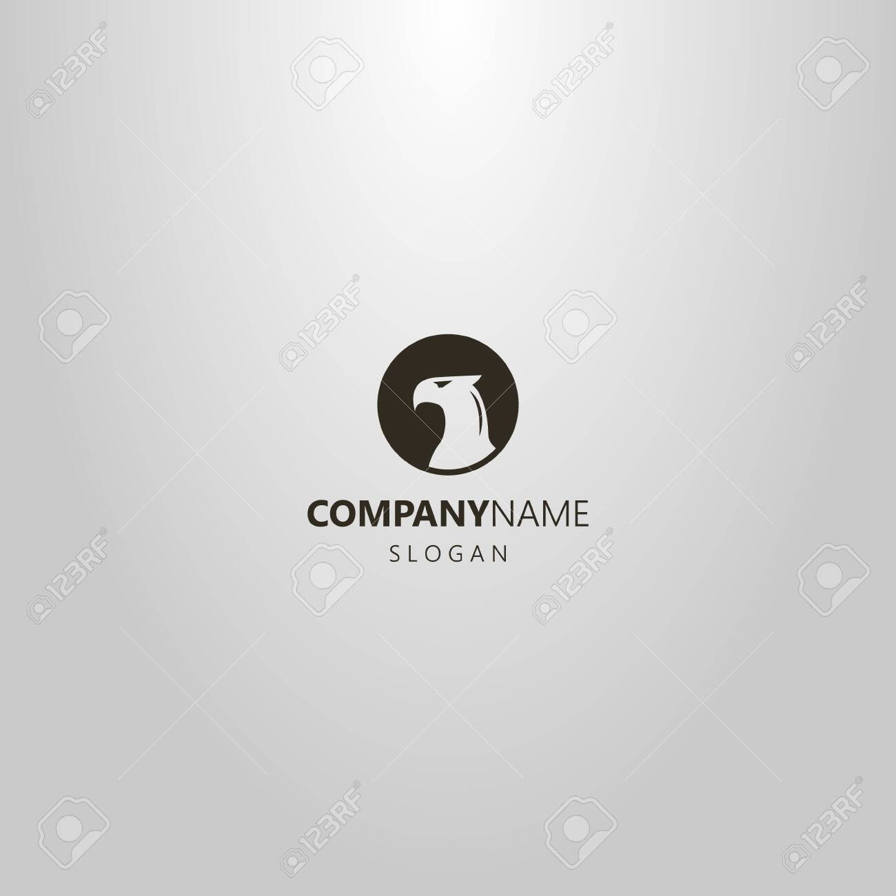 Black And White Simple Vector Negative Space Round Logo Of Bird Royalty Free Cliparts Vectors And Stock Illustration Image 127638930