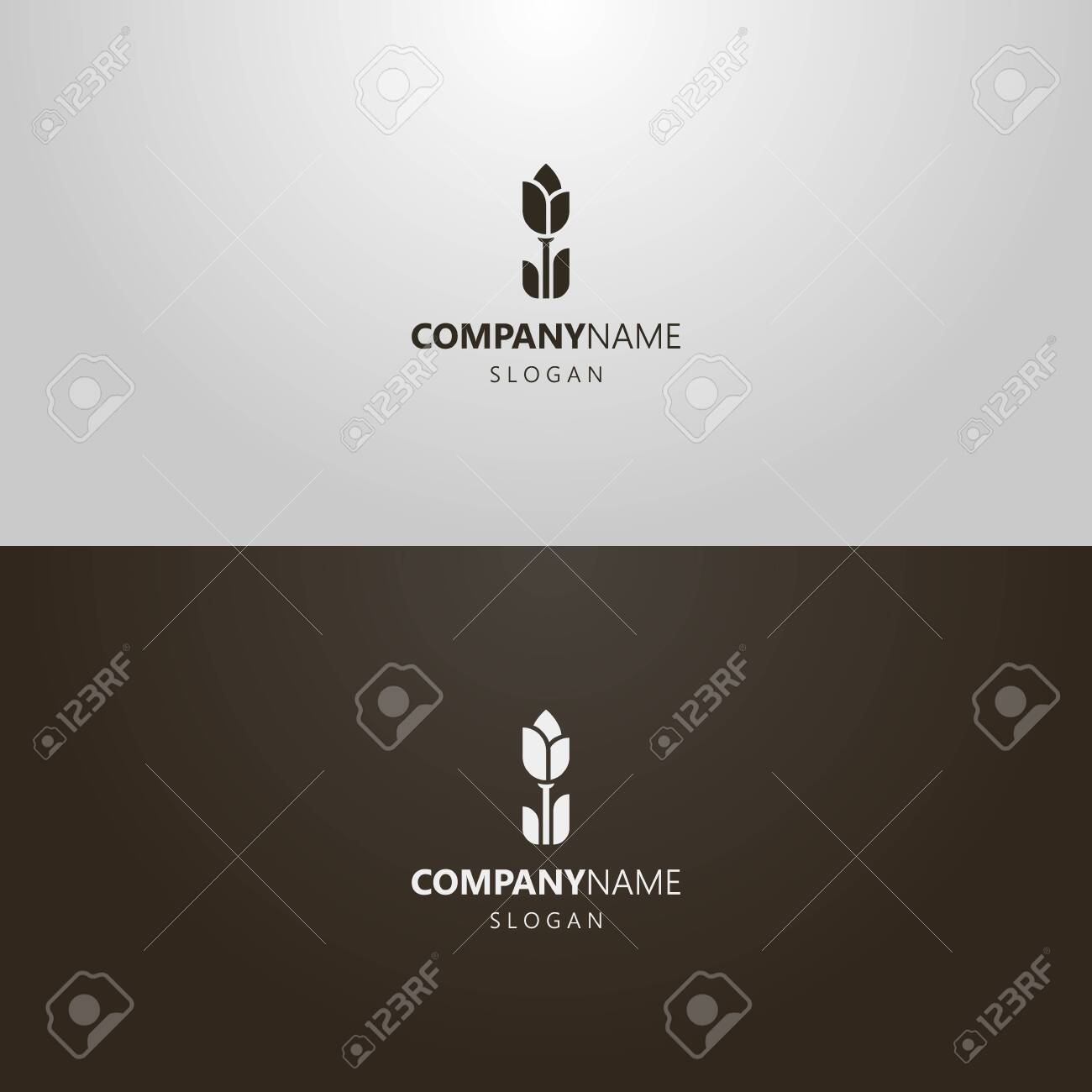 black and white simple vector flat art outline iconic logo of tulip flower - 145322304