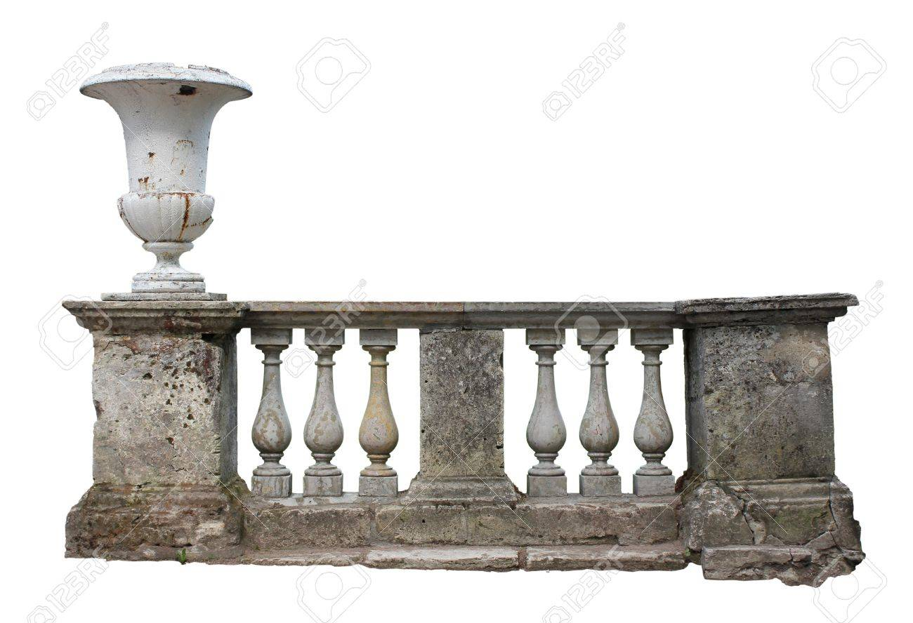 Abandoned ancient stone baluster railing with old vase isolated on white background. Stock Photo - 10074755
