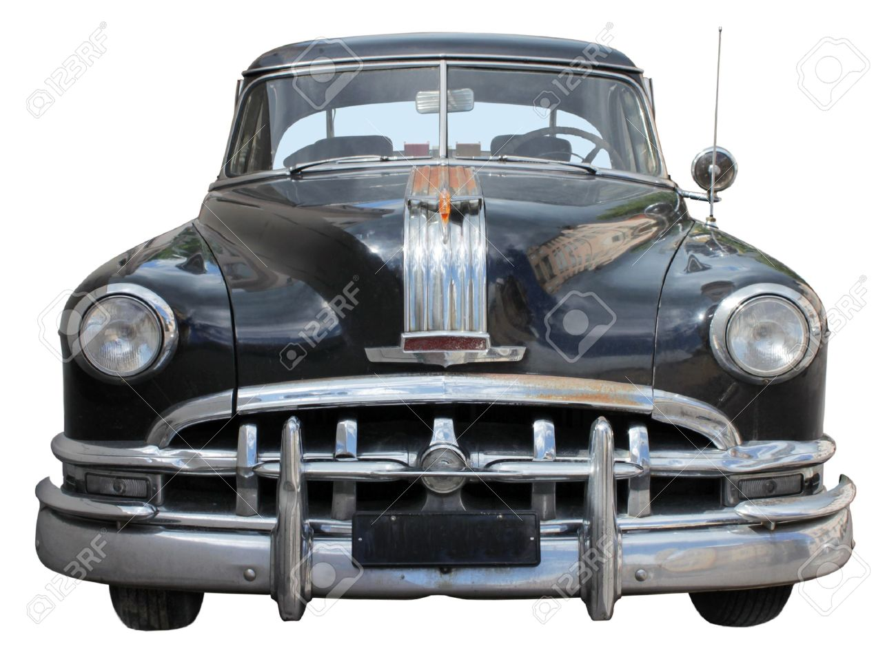 Old Car Front View Isolated On White Background Stock Photo - Old car photos
