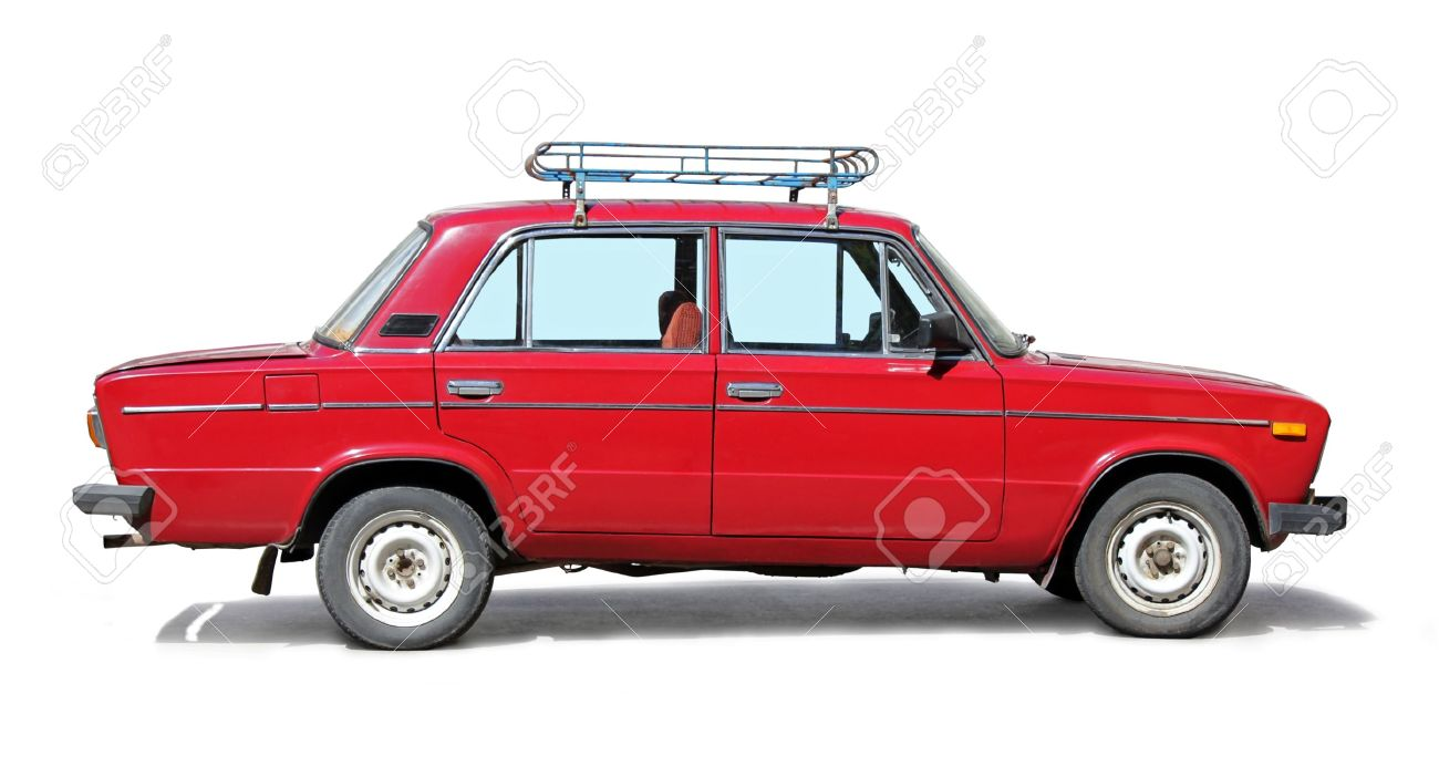 Old Red Car Side View On White Background Stock Photo Picture