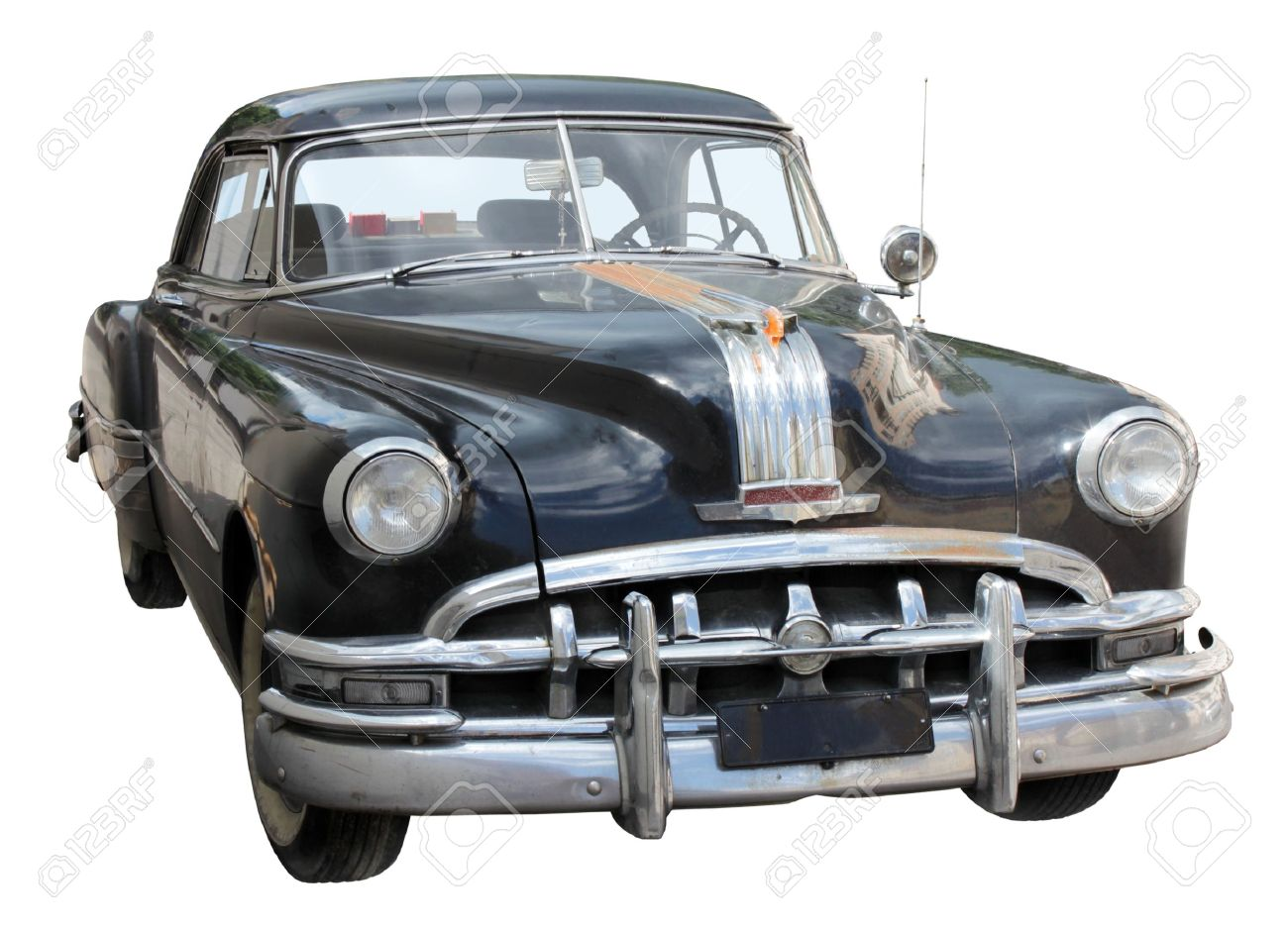 Black Old Car Front View Isolated On White Background Stock Photo