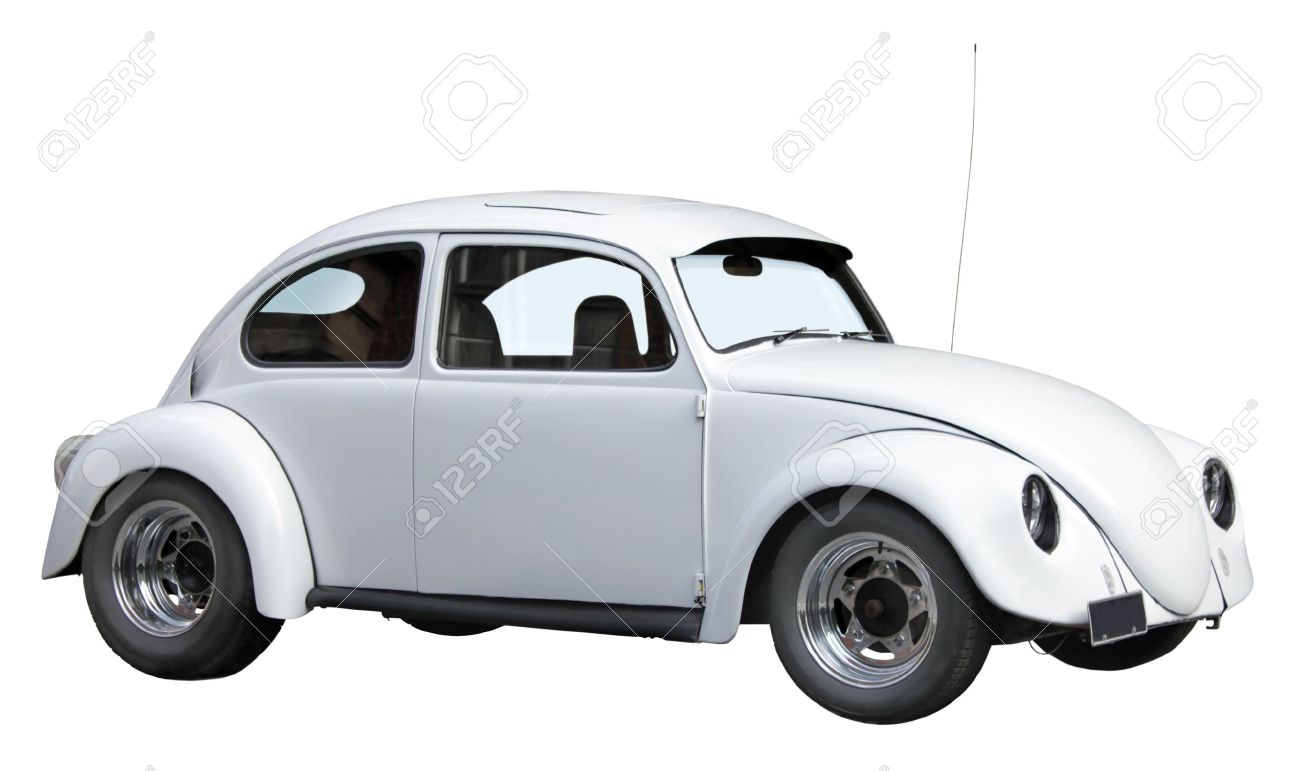 Small Old White Car Isolated On A White Background Stock Photo
