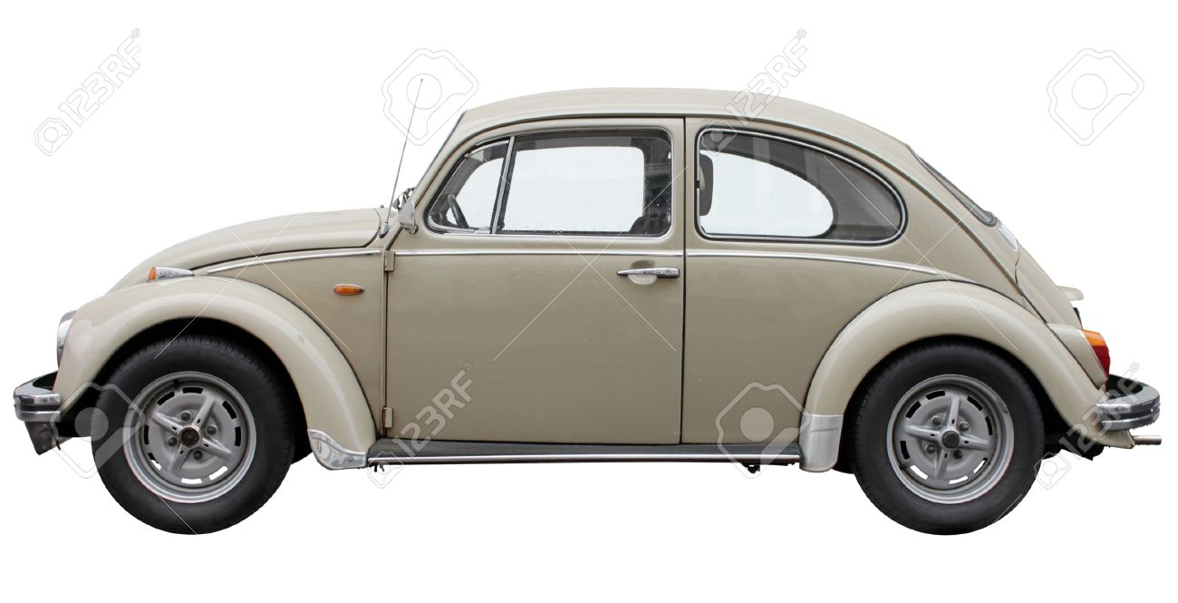 Small retro car side view isolated on the white background. - 17091874