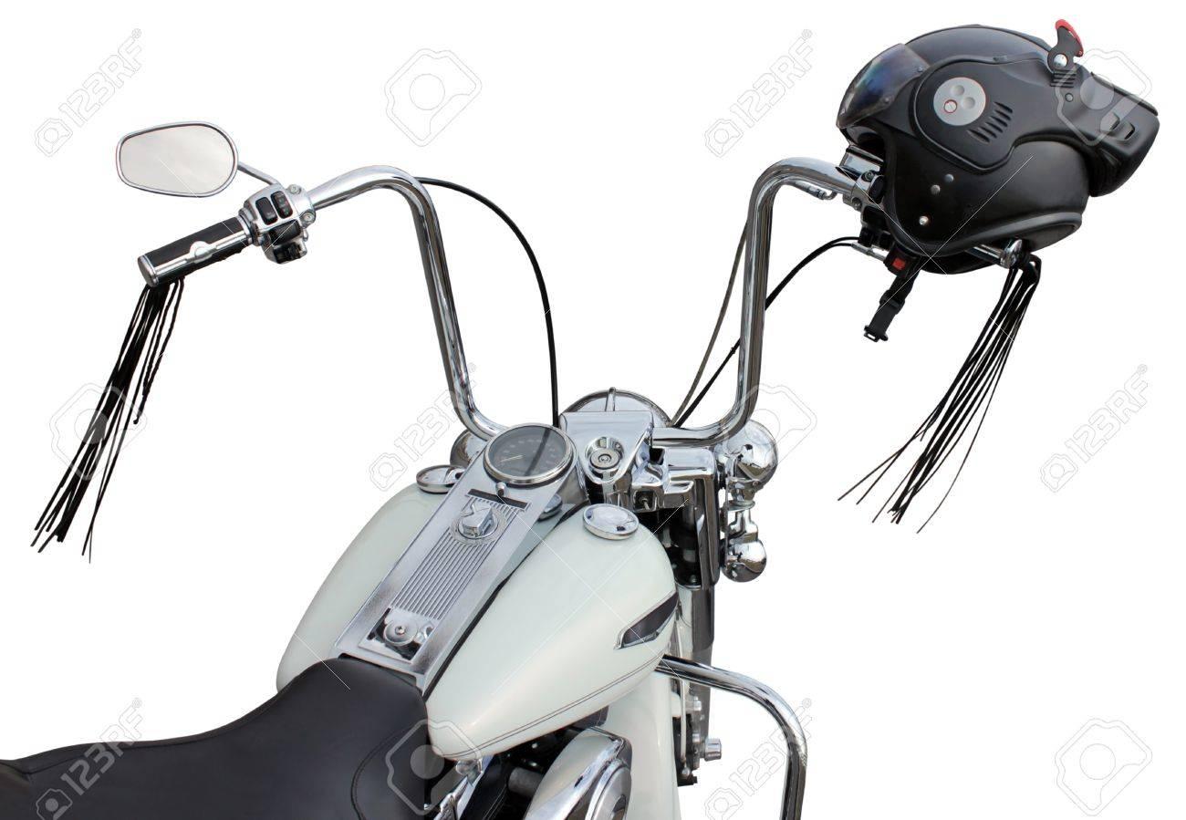 Best motorcycle handlebars - Motorcycle Handlebar With Helmet Ape Hanger Handlebars Are Popular On Chopper Motorcycles Stock Photo