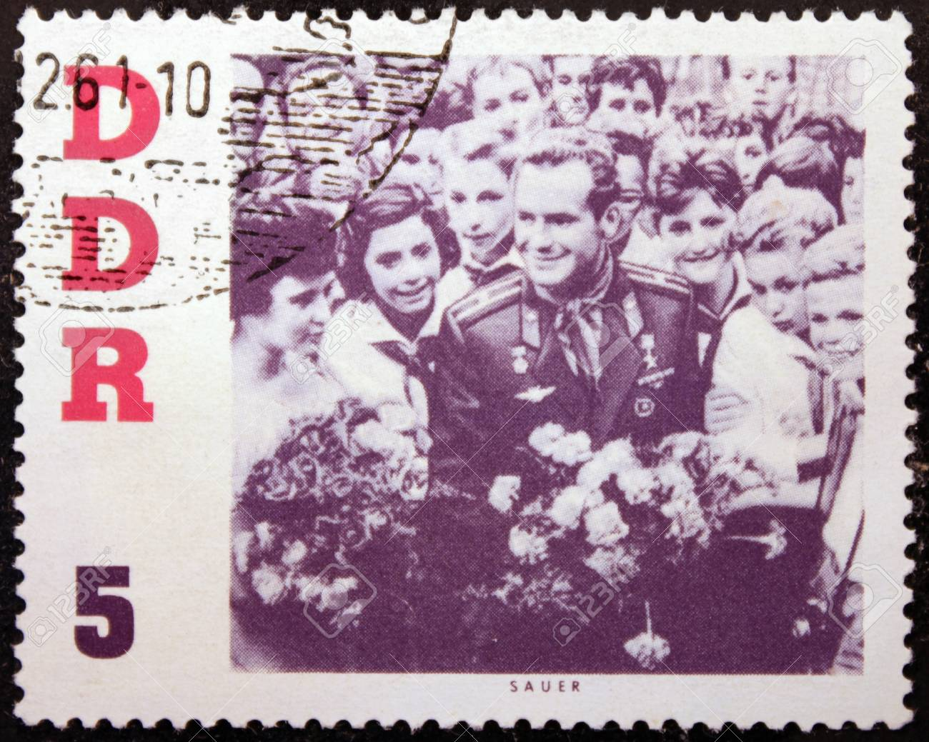 GERMANY - CIRCA 1961: a stamp printed by German Democratic Republic shows portrait of famous Soviet pilot and cosmonaut Gherman Titov, circa 1961  Stock Photo - 20187819