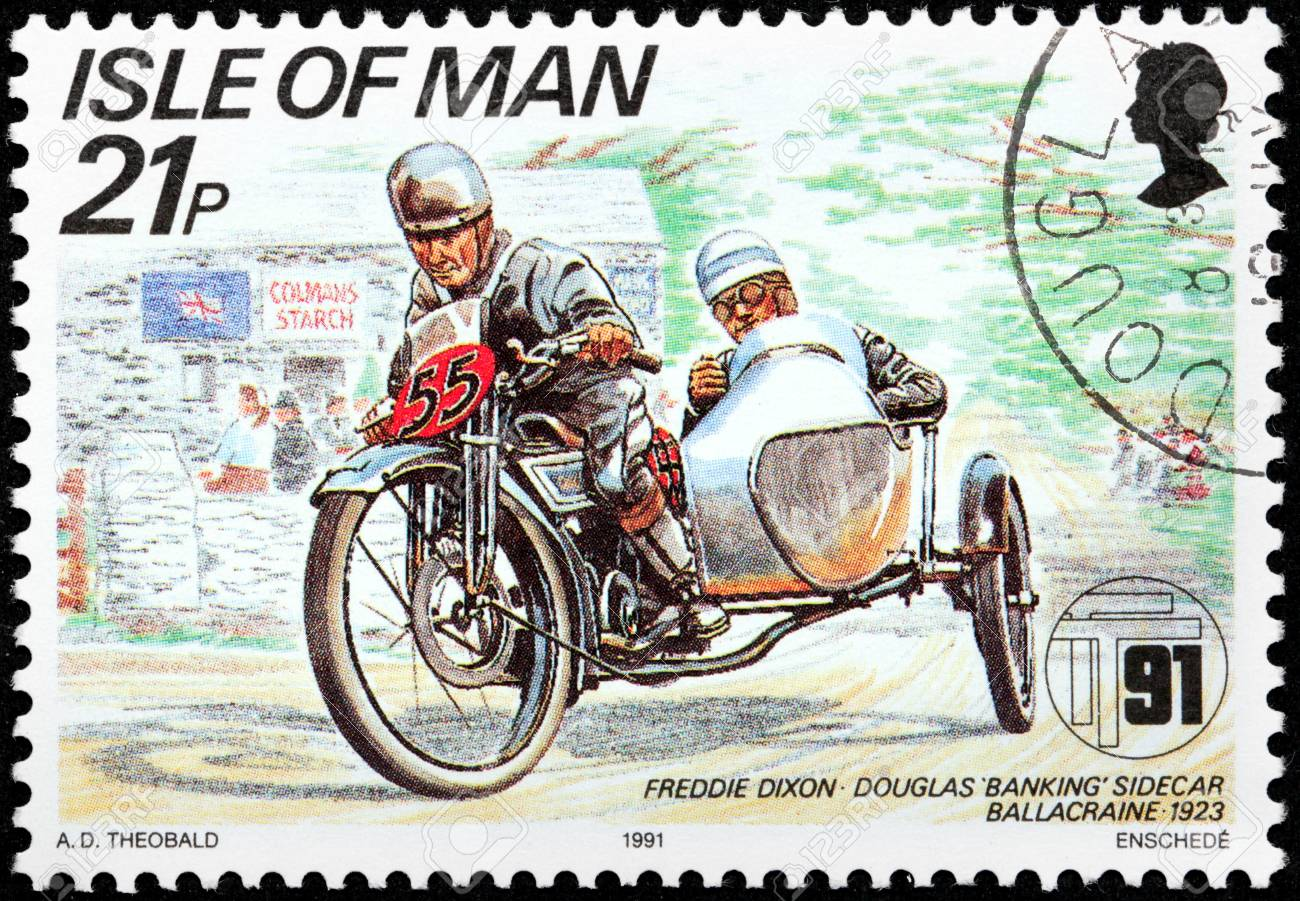 ISLE OF MAN - CIRCA 1991: a stamp printed by GREAT BRITAIN shows winner of International Isle of Man TT (Tourist Trophy) Race - the most prestigious motorcycle race in the world, circa 1991. Stock Photo - 21457306