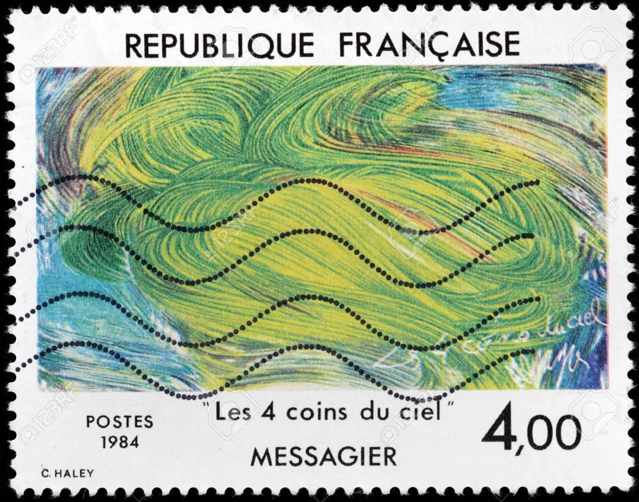 Sculpteur Peintre Et Poete Francais france - circa 1984: timbre, imprimé par france montre peinture four  corners of the sky par le célèbre peintre français, sculpteur, graveur et  poète