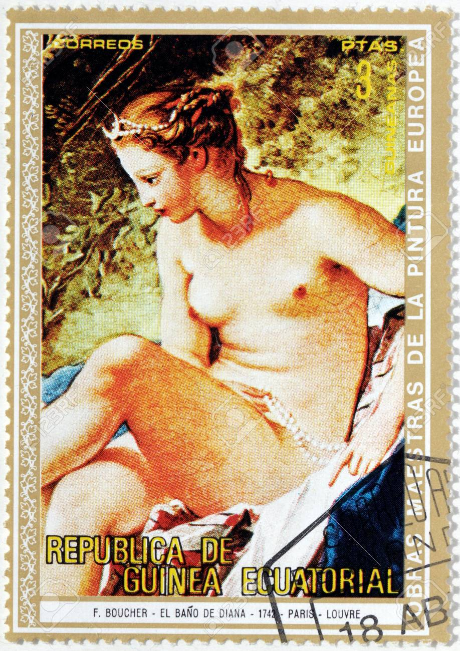 Boucher El Bano De Diana.Equatorial Guinea Circa 1973 A Stamp Printed By Equatorial Guinea Shows Painting Diana Leaving The Bath By Francois Boucher A French Painter In