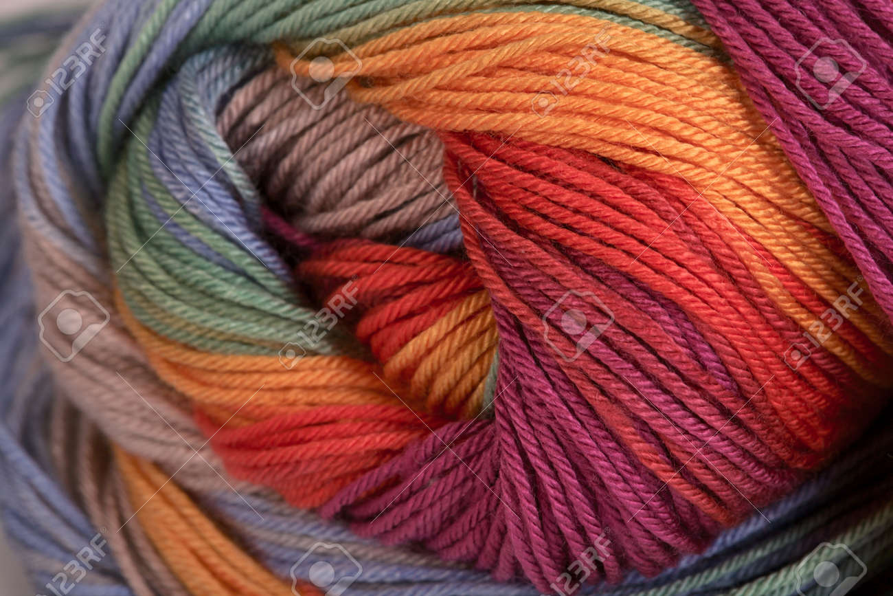 Ball of a color wool yarn for needlework - 13233249