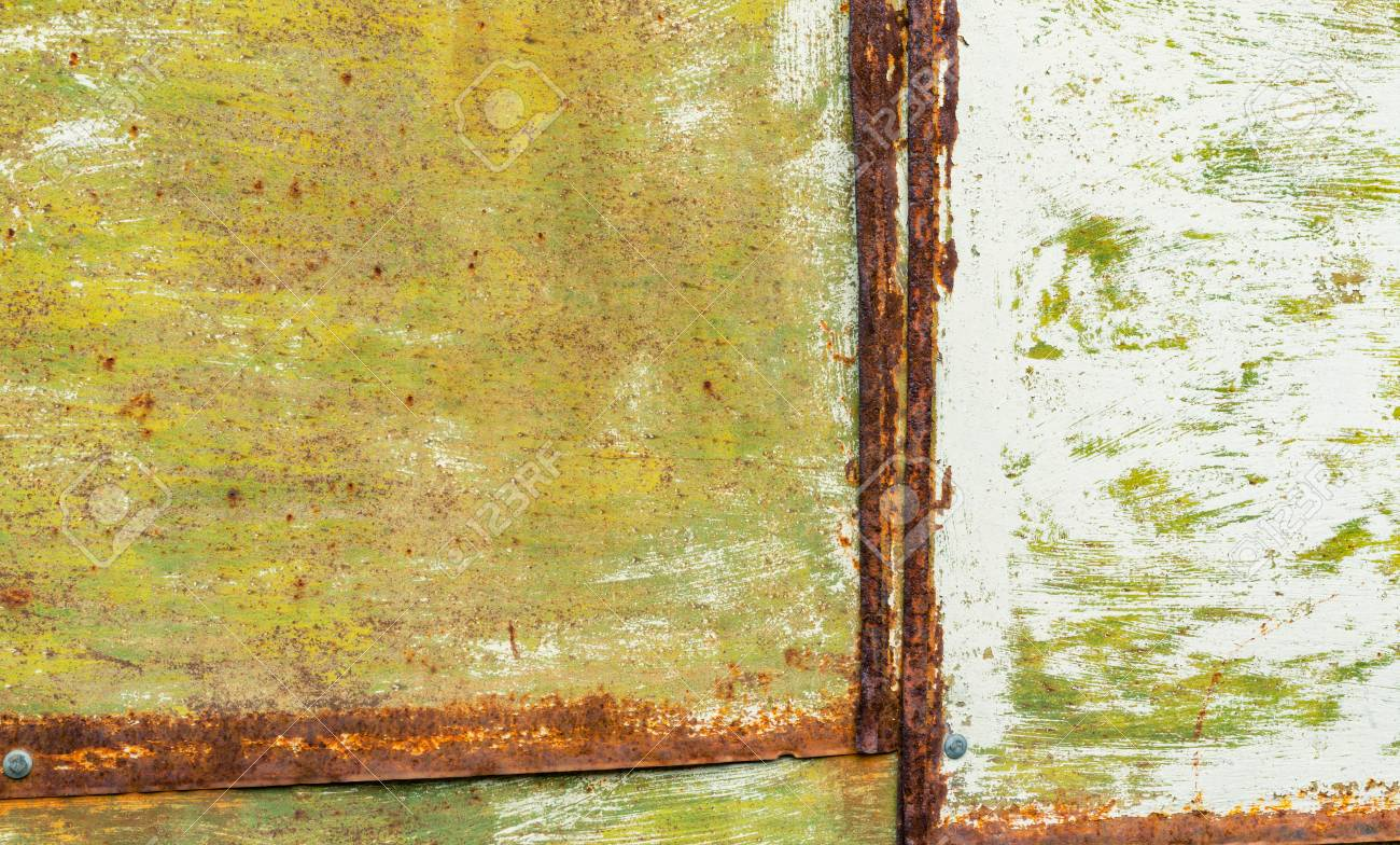 Texture - Sheets Of Rust-colored Metal Are Painted In Green Stock ...