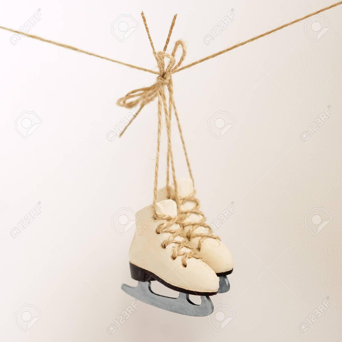 Beautiful Christmas Tree Decoration Small Ice Skates On The Rope ...