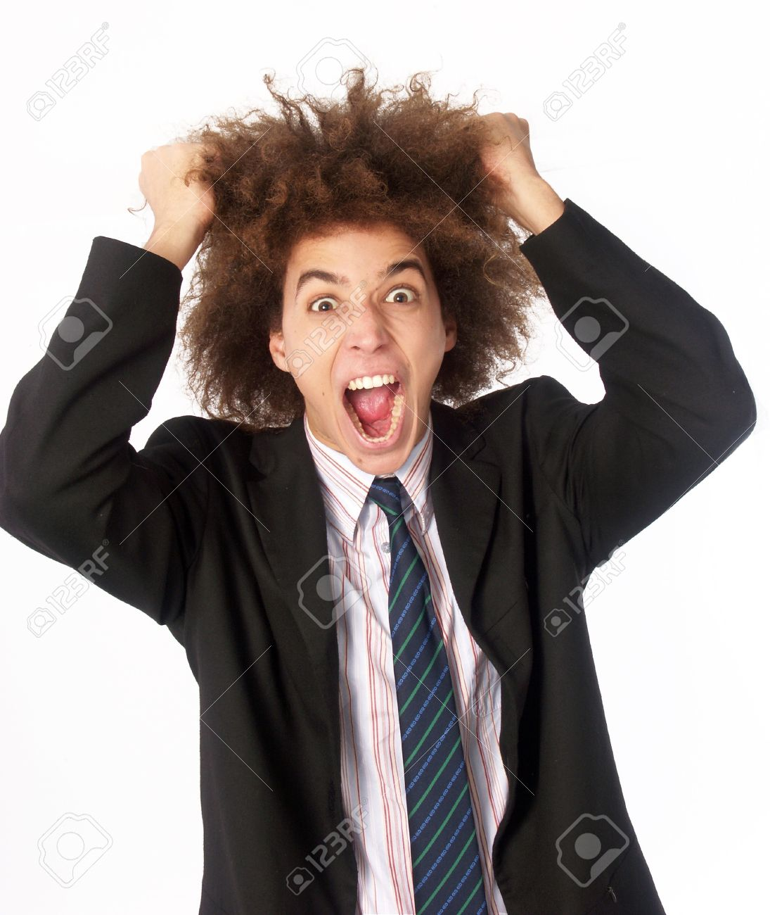 Businessman With Afro Hairstyle Pulling His Hair On White Background Stock  Photo   22388136