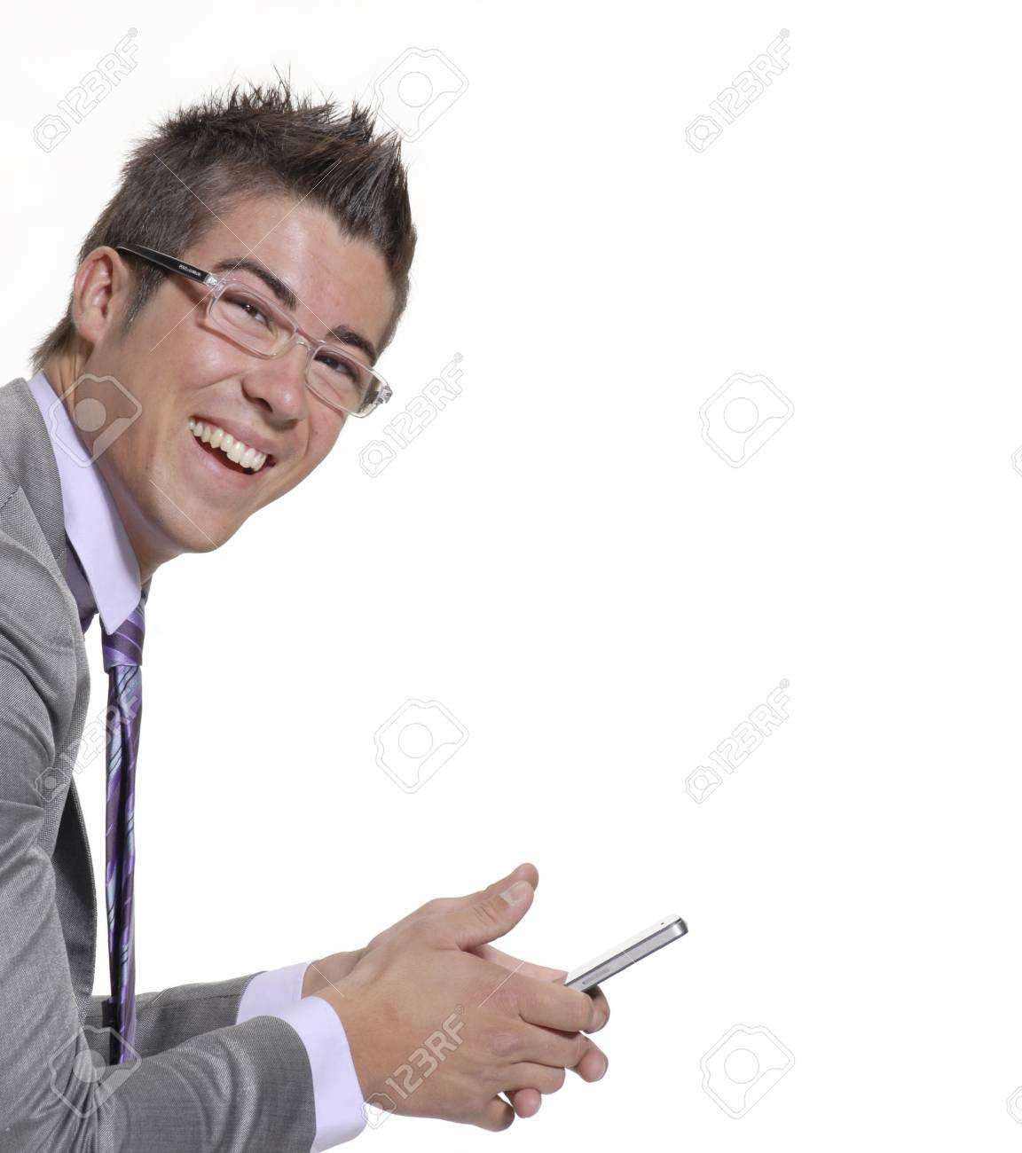 Close up of young businessman using his handphone Stock Photo - 22290820