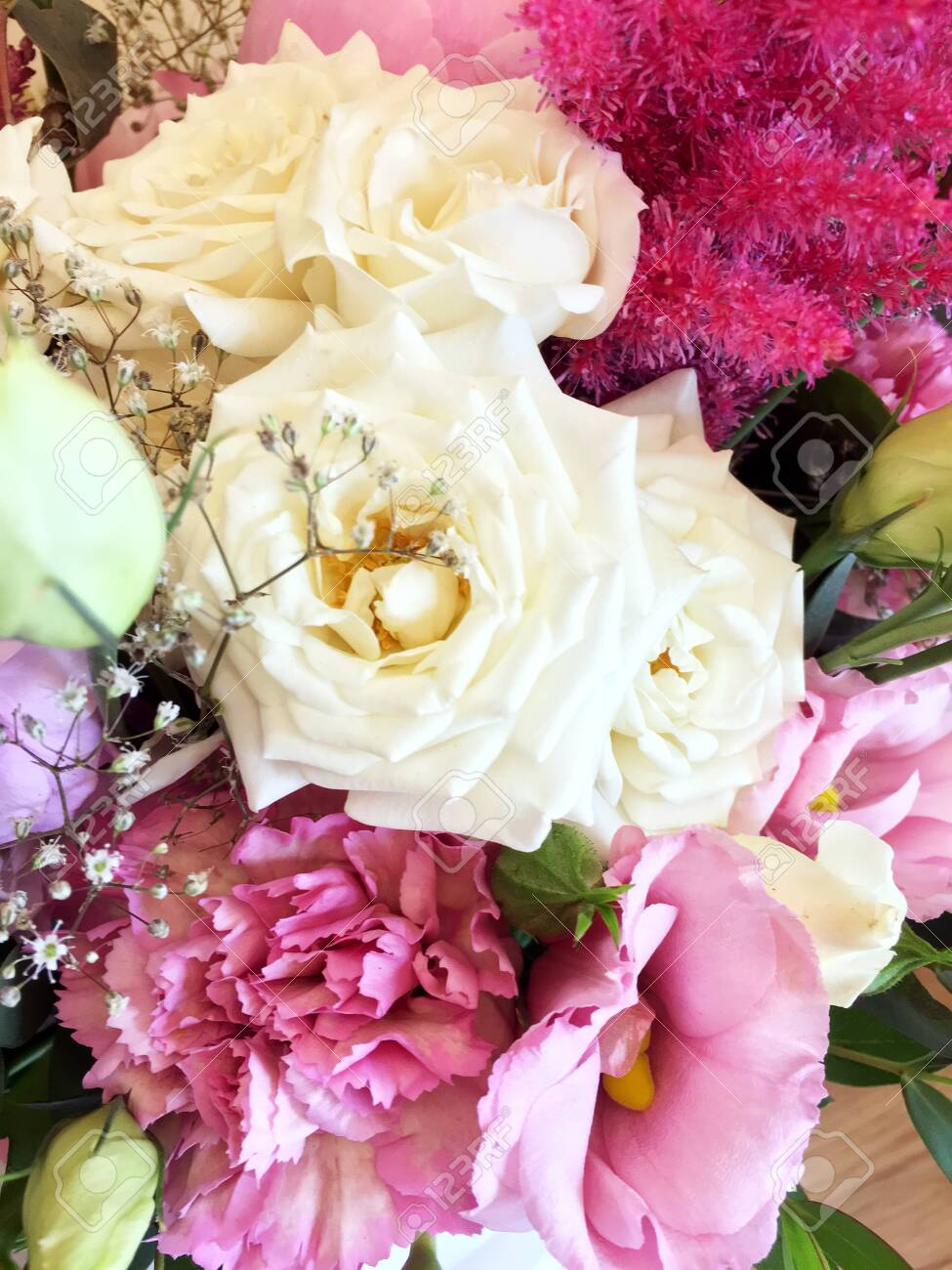 Pink Bouquet With Peonies And Pink And White Roses A Bouquet Stock Photo Picture And Royalty Free Image Image 130354126