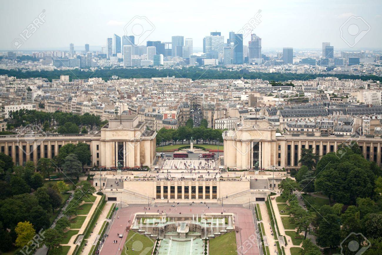 Birds eye view from Eiffel tower on Place de Varsovie, Pont d'Iena and Challiot Palace Stock Photo - 5504463