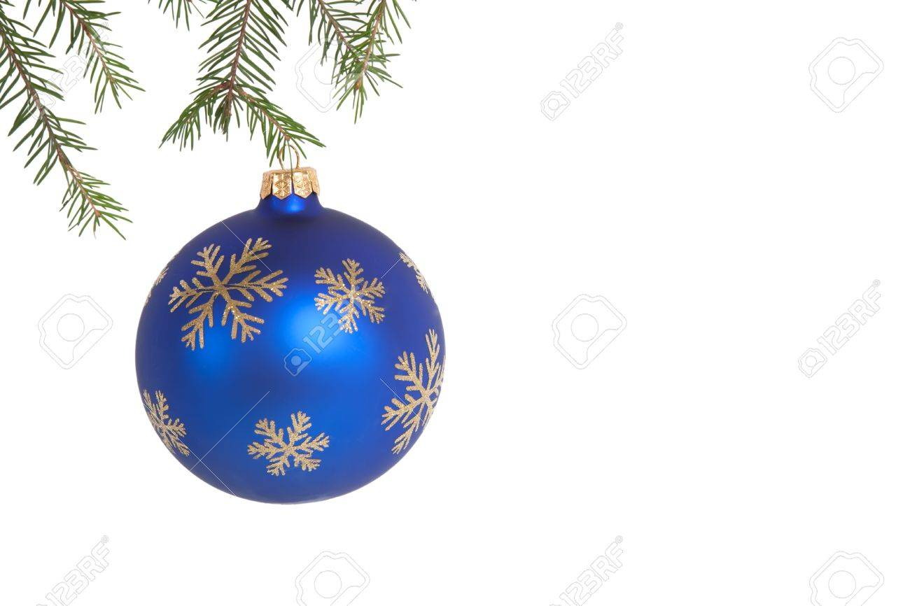 Blue christmas ball on green fir branch over white isolated Stock Photo - 5970590