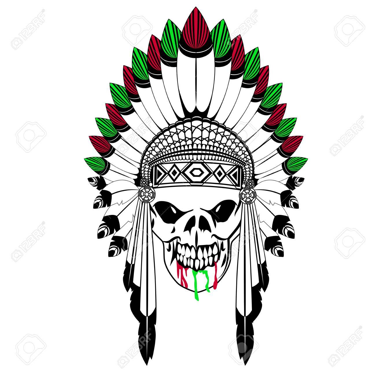 Cráneo con el sombrero de la india de la pluma Foto de archivo - 80160044 e91265efeff