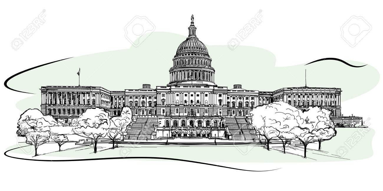 The West Front Of The United States Capitol Sketch Royalty Free Cliparts Vectors And Stock Illustration Image 80160093