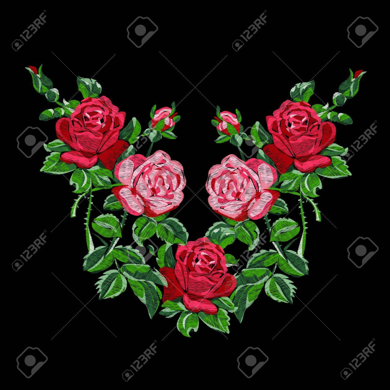 Ethnic Embroidery Of Red Roses With Buds Floral Design. Fashionable on garden dress forms, country garden designs, garden edging designs, garden home designs, garden wedding designs, garden fabric, garden box designs, garden art designs, garden cake designs, garden motif design, garden surface pattern designs, garden window designs, garden flowers designs, garden needlepoint designs,