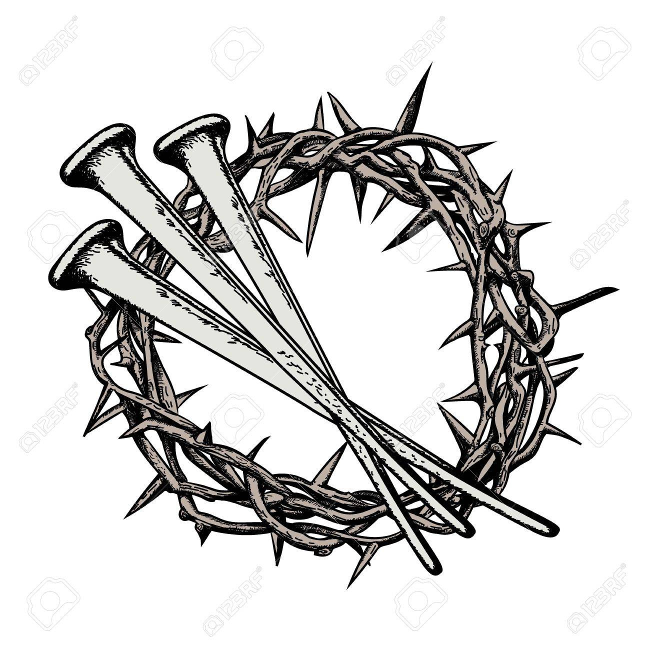 the crown of thorns with the nails of jesus christ symbols of rh 123rf com