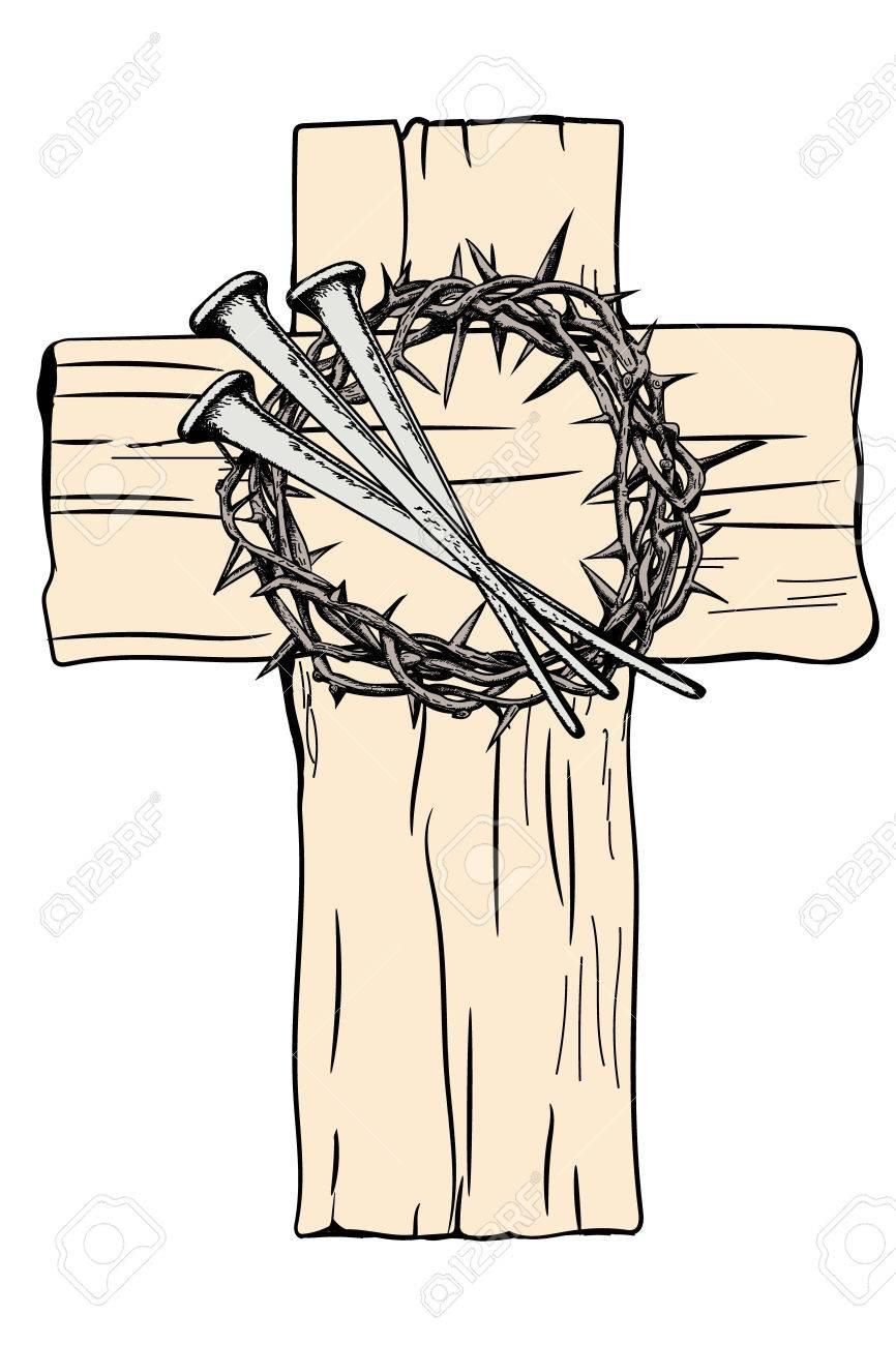 Una Cruz Santa Y Una Corona De Espinas Con Los Clavos De Jesucristo