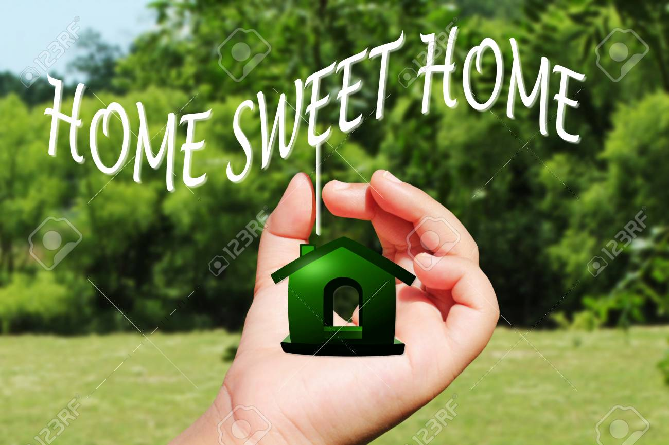 home sweet home icon design on hand Stock Photo - 26744181