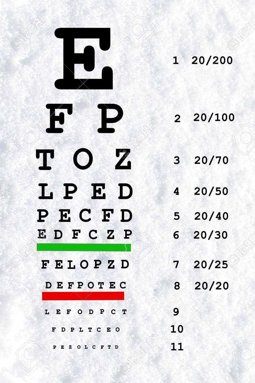 eye sight test chart in snow white background Stock Photo - 37561237