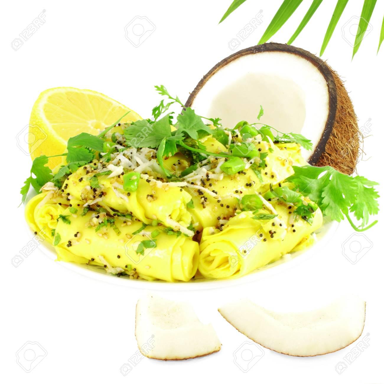 Khandvi Kichererbsenmehl Snack Traditionelle Indische Küche ...
