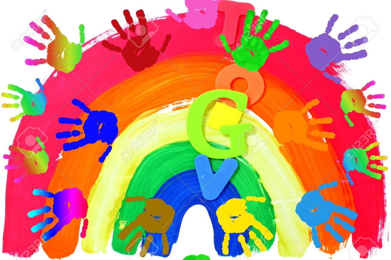 Bedwelming Kinderen Kunst En Ambacht Kleurrijke Handdrukken In Regenboog @EC13