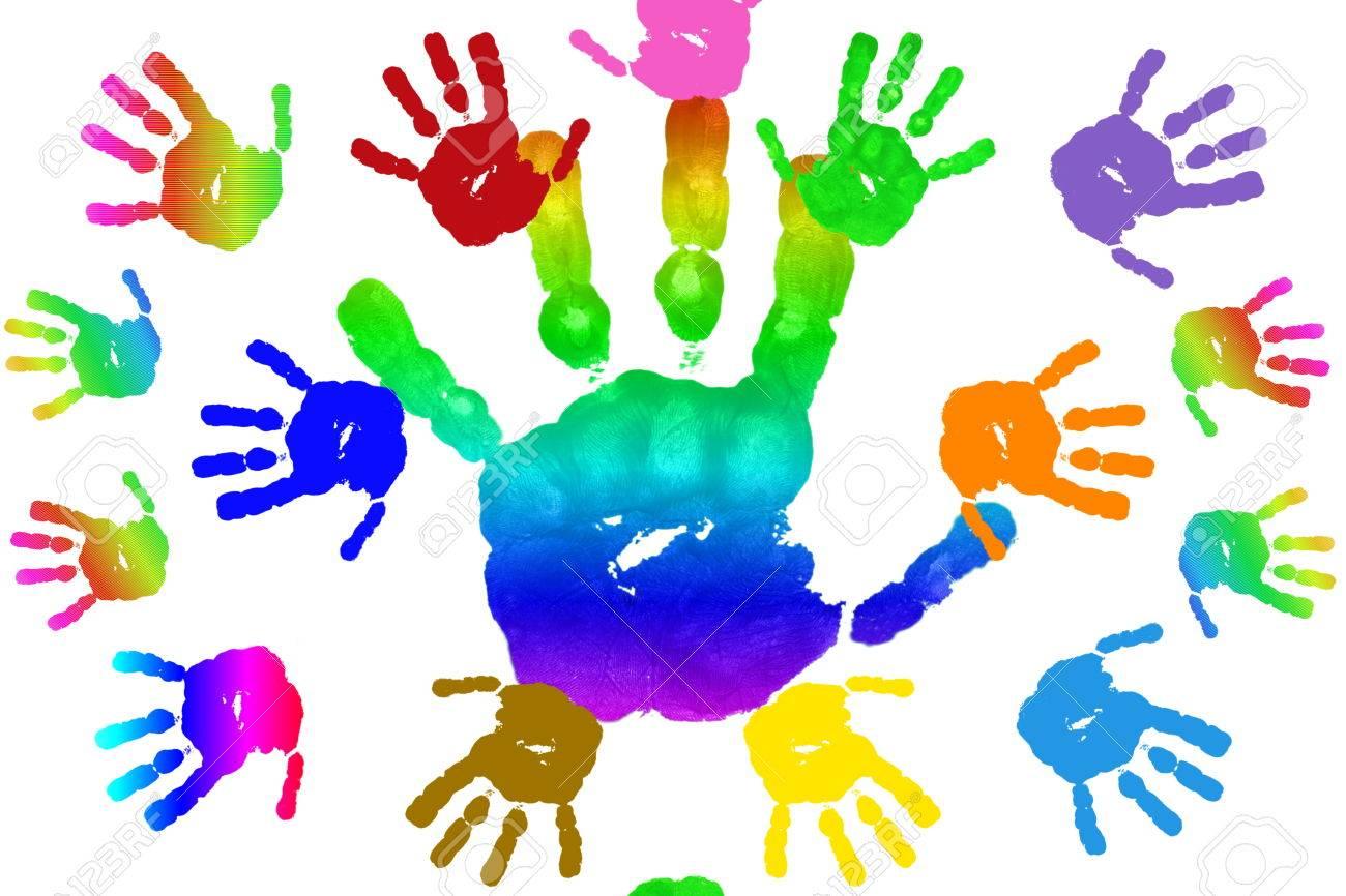 New Kinderen Kunst En Ambacht Kleurrijke Handdrukken In Regenboog &XG12