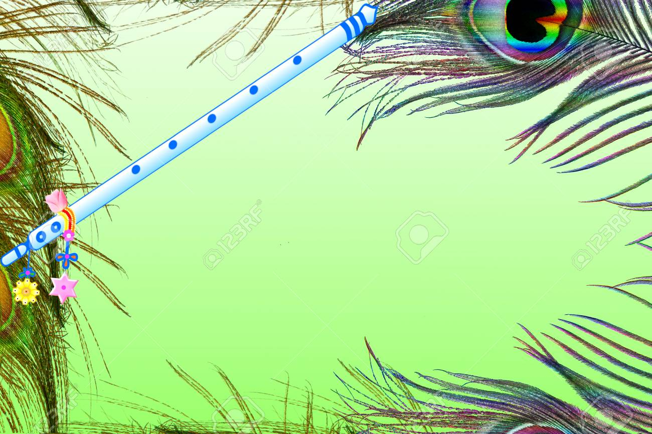 peacock feather and flute over green background with text copy