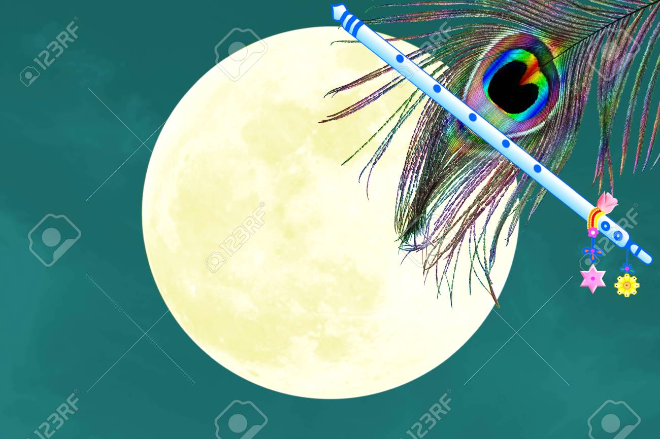 peacock feather and flute over moon background with text copy