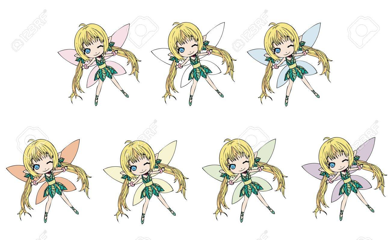 Fairies collection (different wing colors) Stock Vector - 11931516