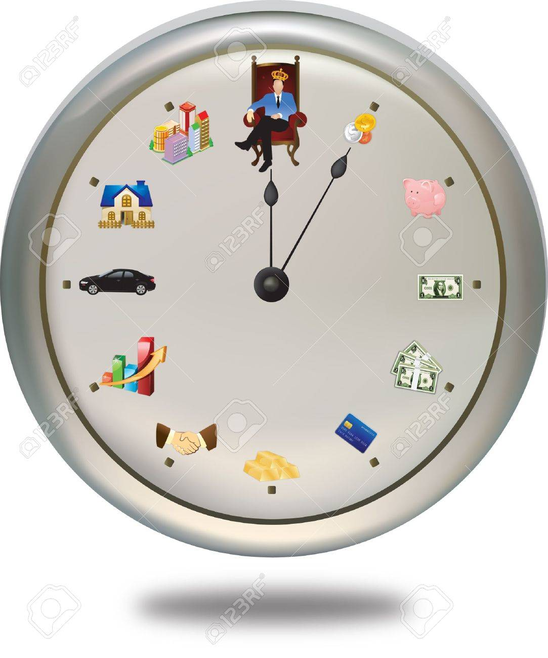 Time is money ***This special clock shows how a person can achieve their financial-goal in 12 periods of life-time. The short-hand is the FINAL goal, while the long-hand shows their current status. So the hand will be distinct for each person Stock Vector - 12163001