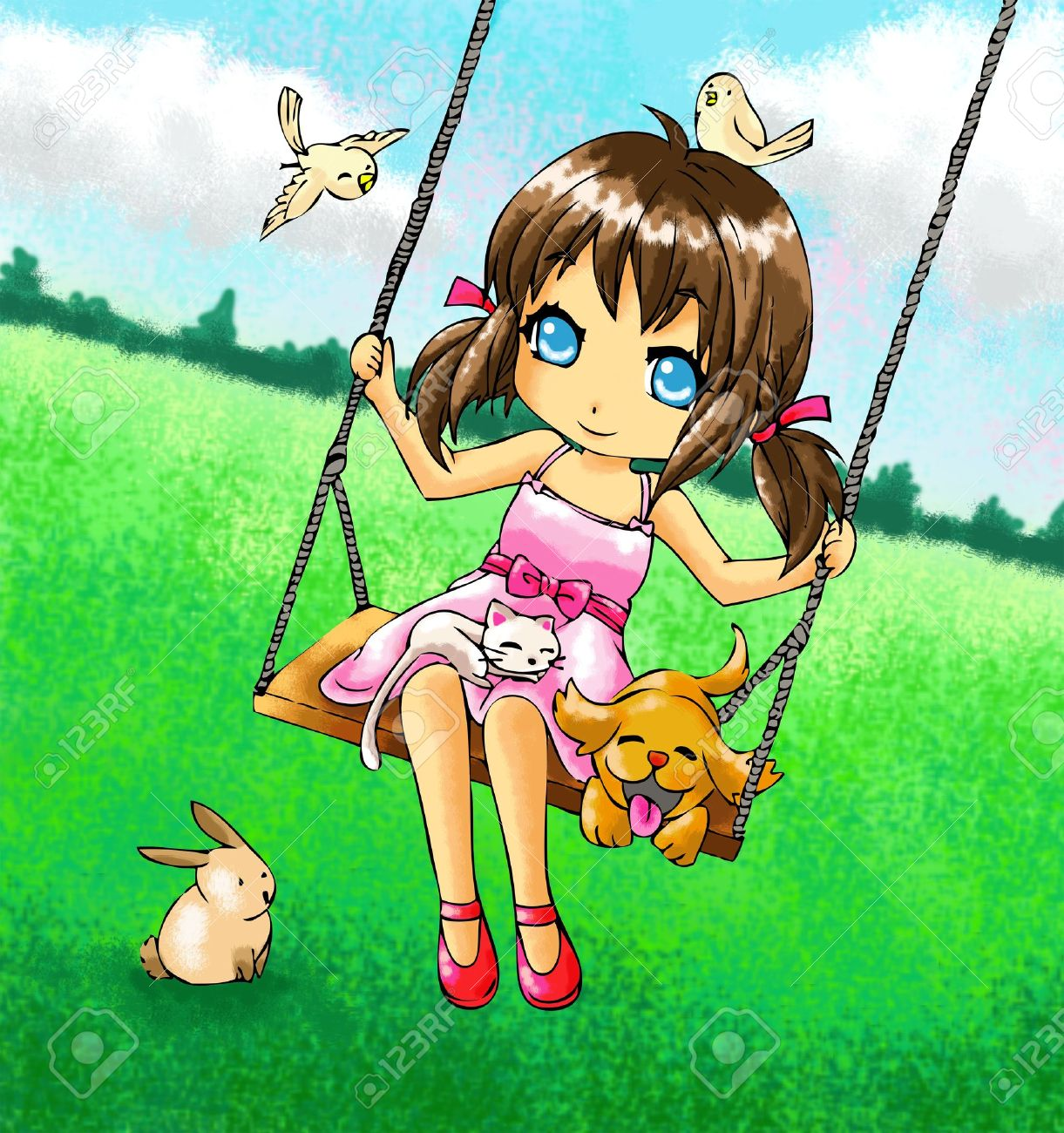 Cute 2d girl on the swing with her dog and other animals Stock Photo - 12707137