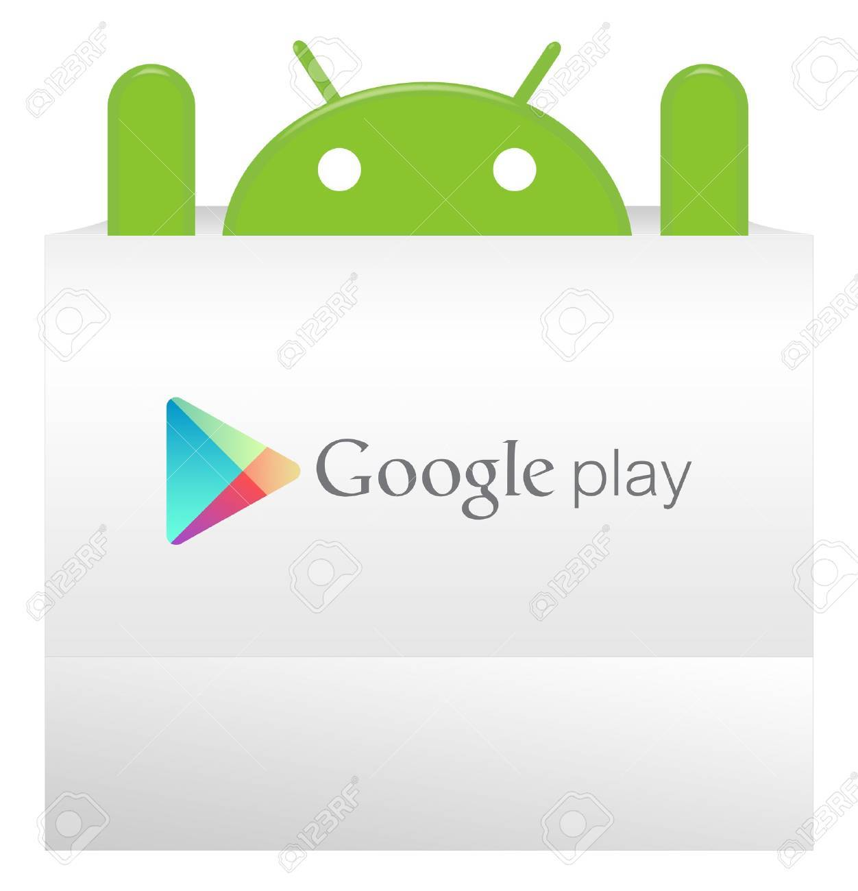 An android appear from Google play bag with a suprise Stock Photo - 12925768