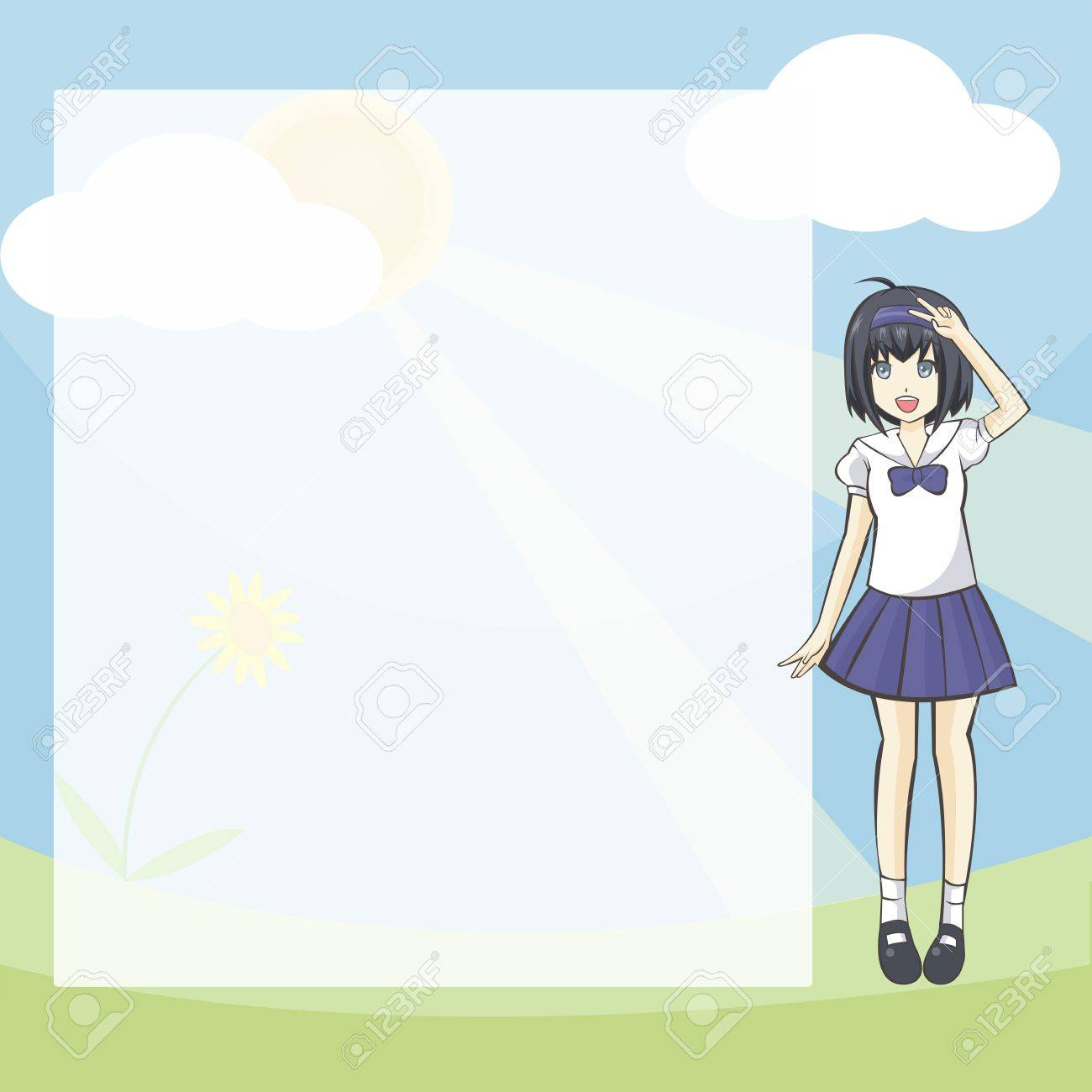Sweet Student Diary and notepad  A plain notepad for everyone to use with a cute Thai school-girl on the right Stock Vector - 13605585