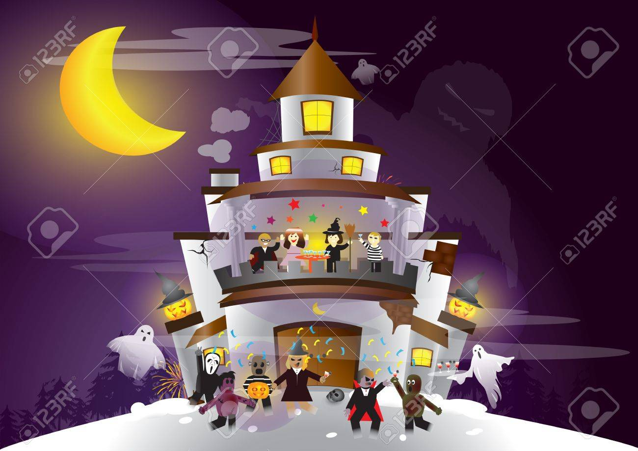 Halloween Festival  Ghost and human having a great party Stock Vector - 15257726