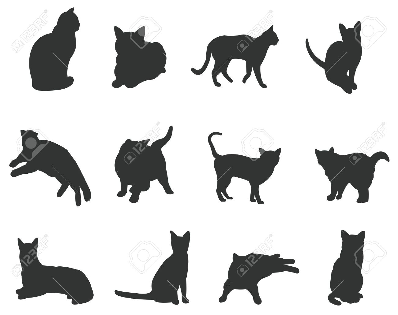Juegos de gatos, silueta, en diversas acciones, crear por vector Foto de archivo - 15942026