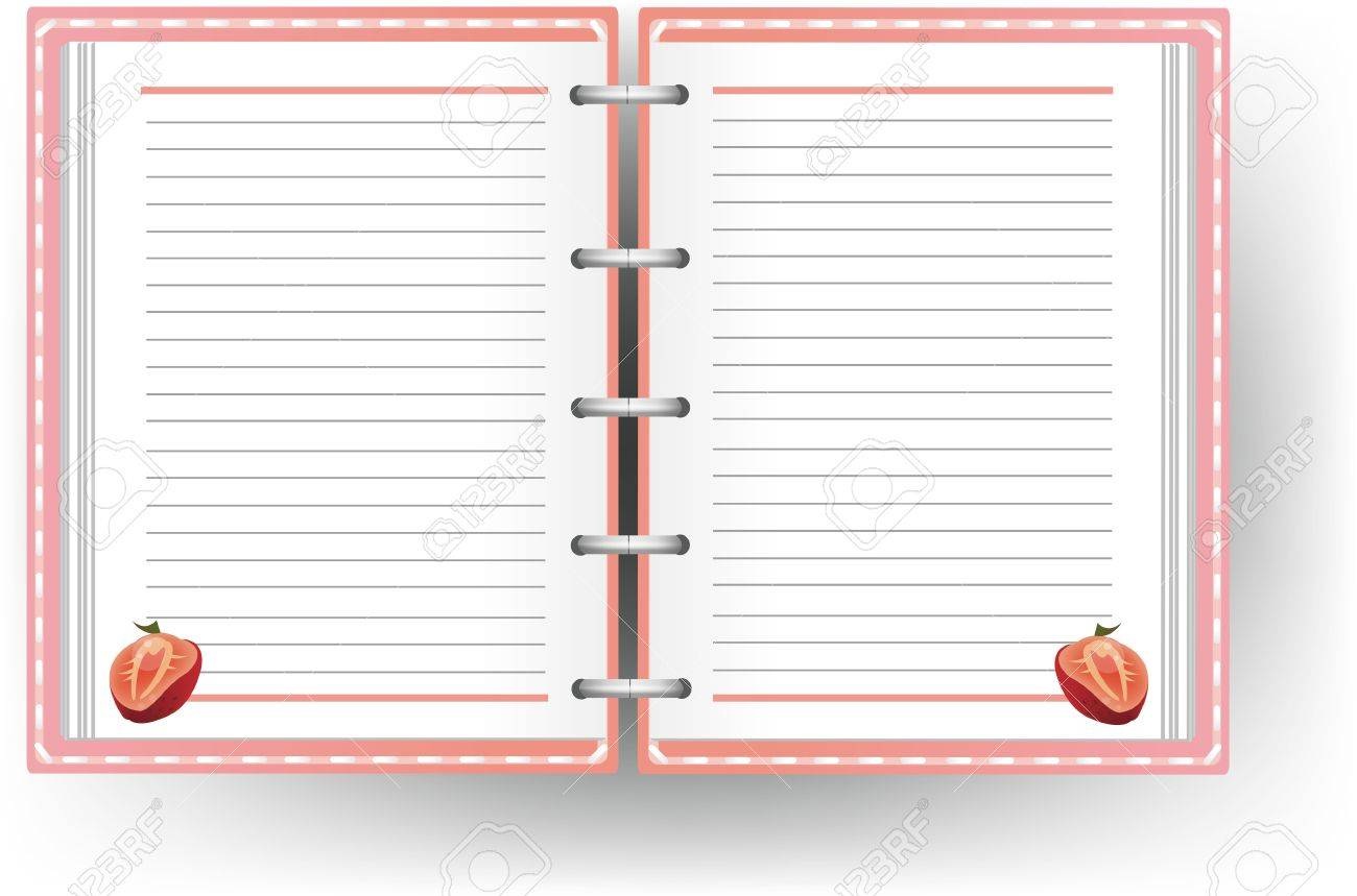 Pink Diary With Line And Strawberry Pattern Royalty Free Cliparts